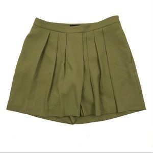 Ann Taylor Green Pleated High Waist Drapey Skort
